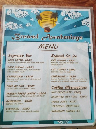 Brewed Awakenings:                                     The Menu