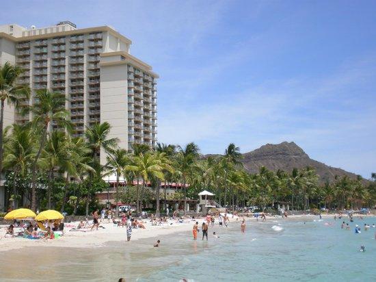 Aston Waikiki Beach Hotel:                   Hotel with diamond head in background