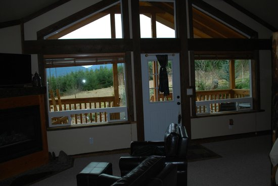 Carson Ridge Luxury Cabins:                   Looking out!