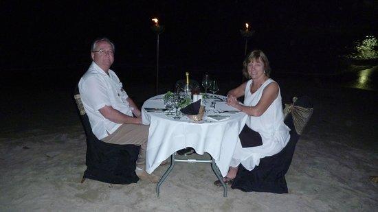 Sandals Halcyon Beach Resort: White glove beachside candle light dinner