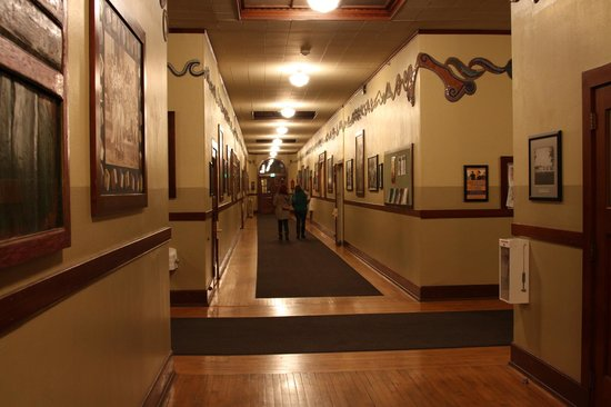 McMenamins Kennedy School:                   One of the hallway areas, with many photos and other historic items