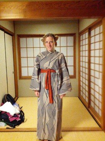 Shimaya Ryokan:                   A Yukata that you find in the room to enjoy it