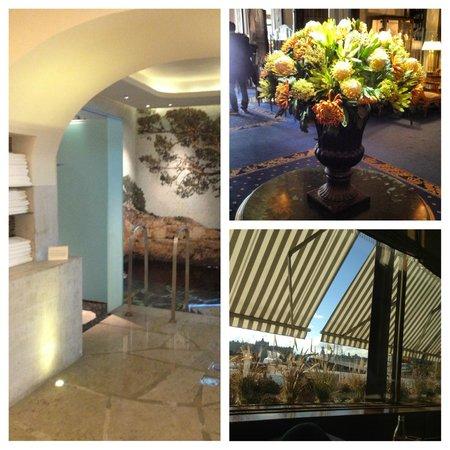 Grand Hotel:                   Spat. Blommor i lobbyn. Utsikt från Cadierbaren.