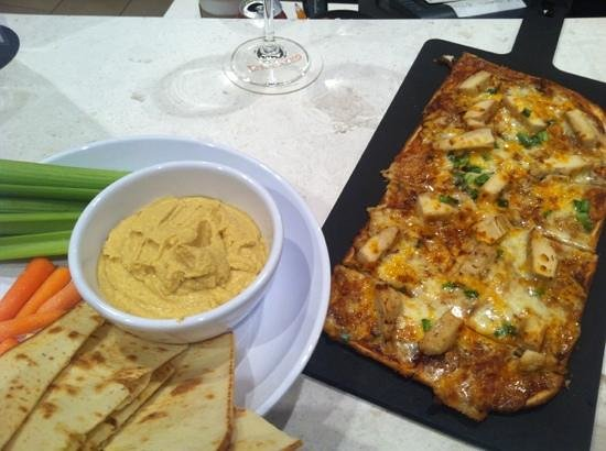 Courtyard Buffalo Amherst/University: BBQ flatbread and hummus plate.