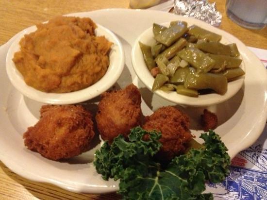 Cedar River Seafood: sweet tater soufflé, Italian green beans, hush puppies