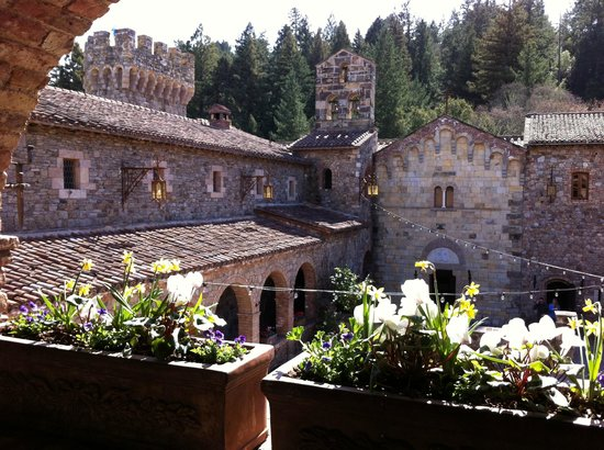 Castello di Amorosa:                   Inside the castle walls looking into the courtyard
