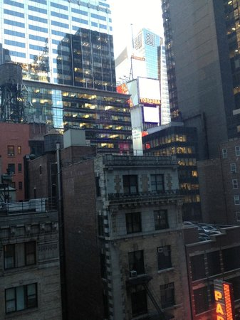 The Premier Hotel:                   View from window along the side of the room (Times Square)