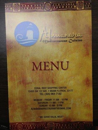 Menu cover picture of almanara mediterranean cuisine for Almanara mediterranean cuisine