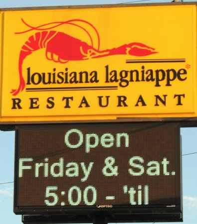 Louisiana Lagniappe Restaurant: Sign