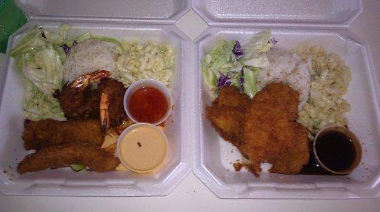 Kinaole Grill Food Truck: calamari and shrimp mix and katsu