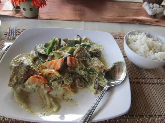 Magellan's:                   Our Thai vegetable and chicken in coconut milk