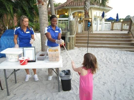 Marriott's Grande Vista:                   roasting marshmallows at the beach