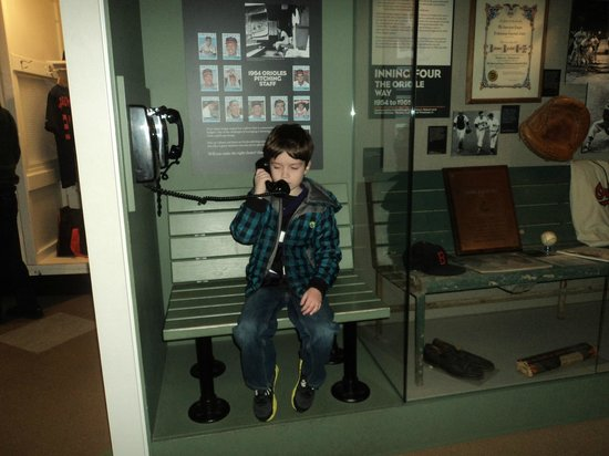 Sports Legends Museum at Camden Yards:                   Matt getting a call in the bullpen.