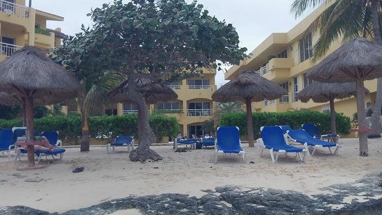 Playa Azul Golf, Scuba, Spa:                   A look at the hotel and beach from the water