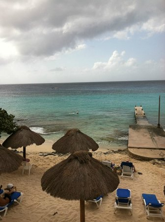 Playa Azul Golf, Scuba, Spa:                   A view of the dock and Carribean Sea from our room