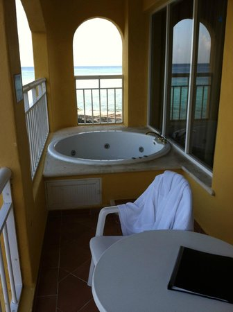 Playa Azul Golf, Scuba, Spa:                   The 2 person jacuzzi tub on our balcony--2nd floor but lacked privacy, used on