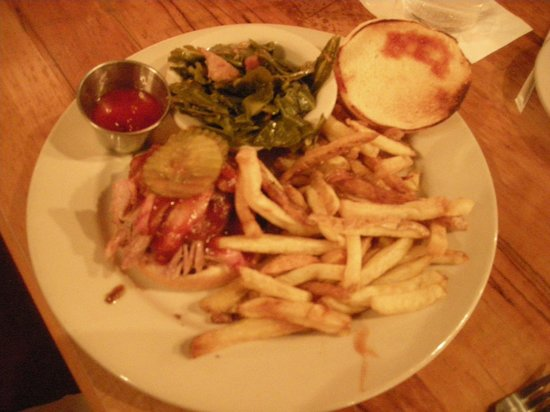 Jim 'N Nick's Bar-B-Q :                   Pulled Pork, collards and fresh fries