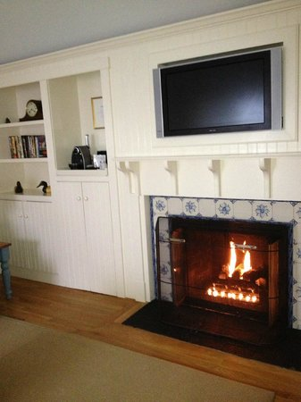 Cozy Living Room With Gas Fireplace Flat Screen Mini Fridge A