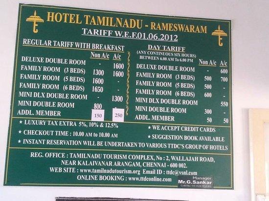 Ttdc Tamil Nadu Hotel Tariff