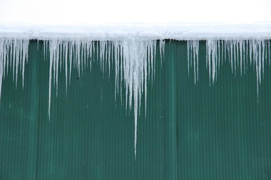 Chena Hot Springs Resort:                   icicles outside geothermal hangar