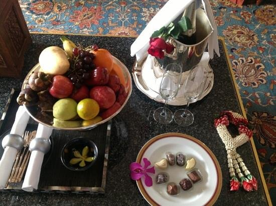 Mandarin Oriental, Bangkok:                                                       fruit, champagne and chocolates waiting fo
