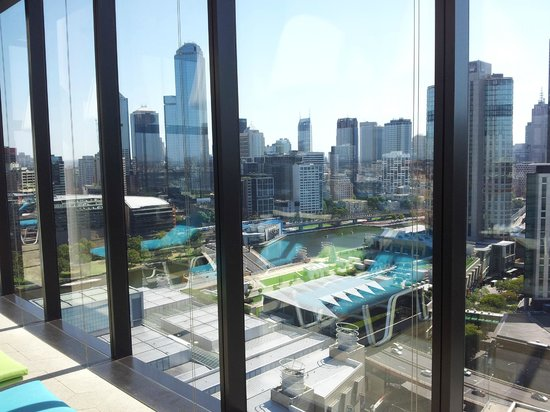 Crown Metropol Melbourne:                   View from the pool area on floor 27