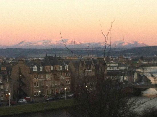 Inverness Student Hotel: View of the mountains from our living room