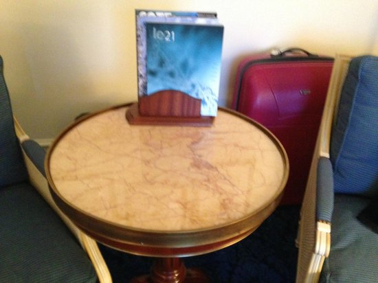 Hotel de Paris:                   Marble table; don't try to move it if you have a back condition