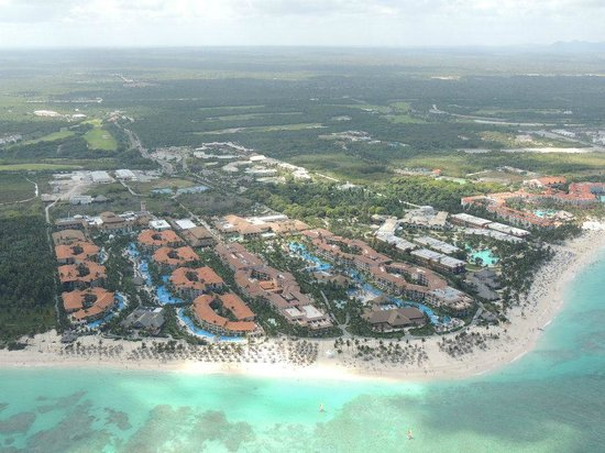 Majestic Elegance Punta Cana:                                     View from helicopter tour, Majestic Elegance on the left.