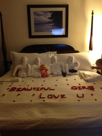 Beaches Negril Resort & Spa:                   Butler Novia leaving a surprise for our 4 girls!