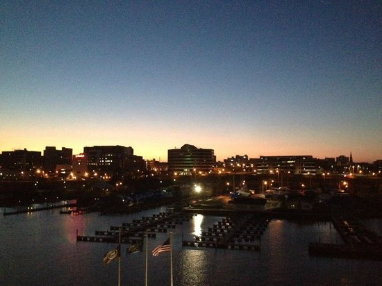 Sheraton Erie Bayfront Hotel:                   Sunrise over downtown Erie from our room
