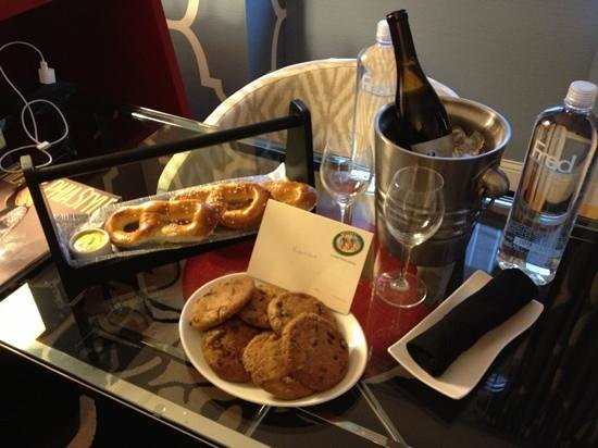 Kimpton Hotel Monaco Philadelphia:                   my welcome amenity of soft pretzels and 4th st cookies