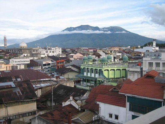 Hotel Benteng:                   view of Bukittinggi with mount merapi from hotel bedroom