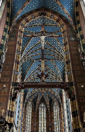 St. Mary's Basilica in Krakow:                   Main aisle
