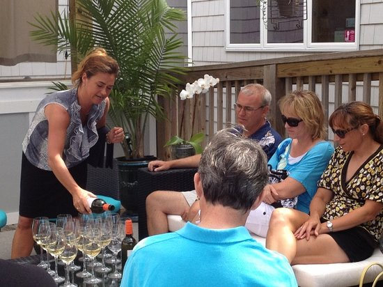 Outer Banks Restaurant Tours: Wine on the deck at Aqua on the Duck Tour