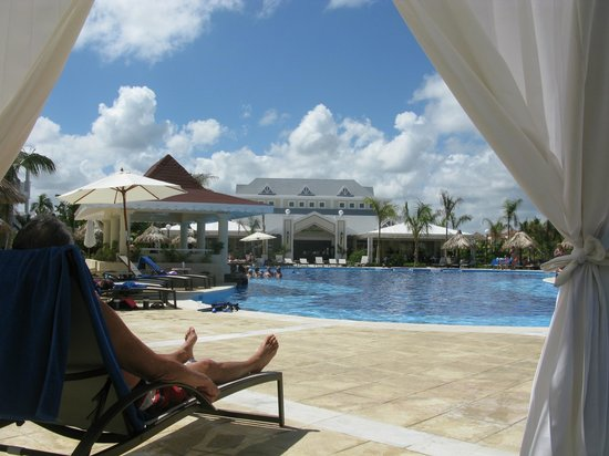 "Luxury Bahia Principe Esmeralda Don Pablo Collection:                   ""Our"" pool from ""our"" cabana looking toward ""our"" buffet area."