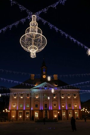 tartu town hall square christmas lights at the town square