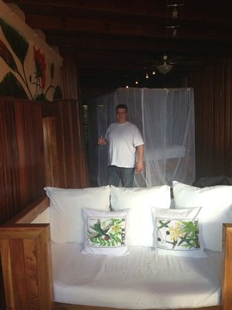 Ladera Resort:                   view from the open wall into our sitting area and bed. Room I
