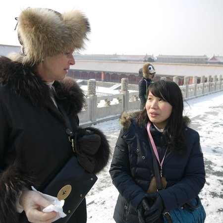 Bespoke Beijing :                   Right our guide in the Forbidden City