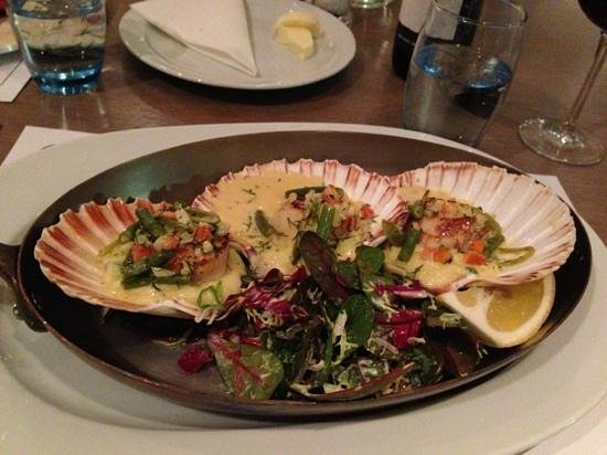 Cameron House on Loch Lomond:                   King scallops at The Boathouse restaurant