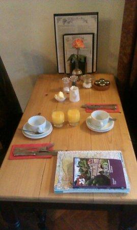Old Hall Inn:                   Breakfast Table