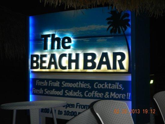 The Beach Bar:                   Marquee seen beach side