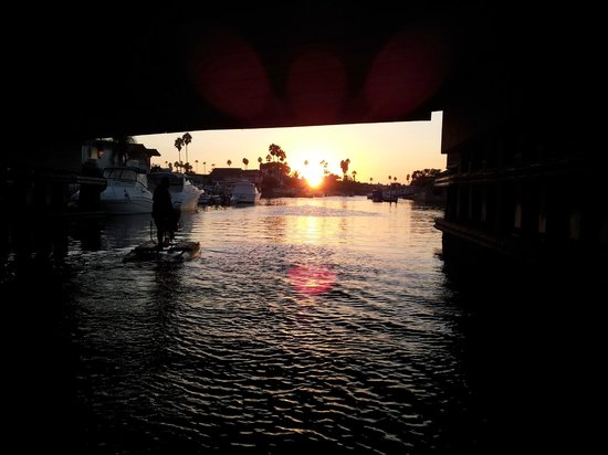 Pacific Coast Hydrobikes: sunset under the bridge