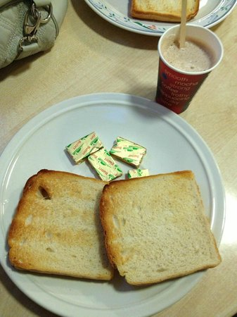Citi Hostels :                   Continental breakfast - toast, butter, milk, cereal, coffee (I bought the hot