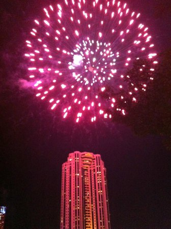 Shangri-La Hotel,Bangkok: Fire works on the river Sat night- outside Next 2
