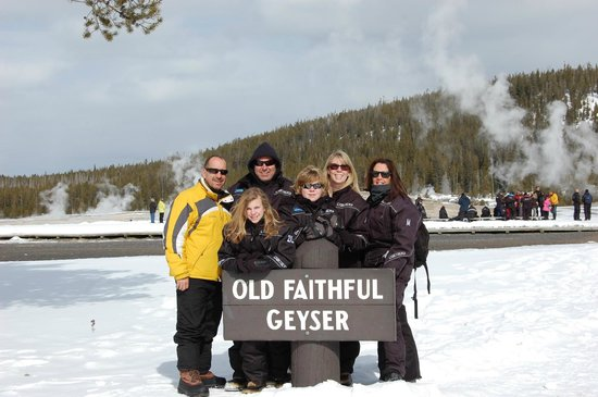 Back Country Snowmobile Adventures :                   We stopped here to see the geyser erupt and for lunch and gifts.
