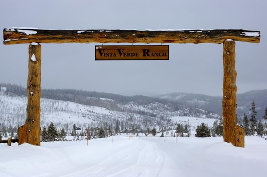 Vista Verde Guest Ranch:                   Entrance to ranch on a snow day