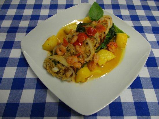Bonfini: Gefüllte Calamari in Weißwein