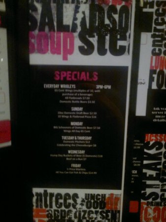 Wrigley's Sports Bar & Lounge:                   specials menu - a little blurry                 