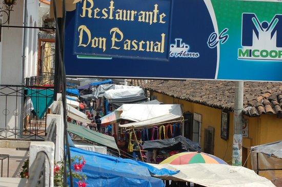 Restaurante Don Pasqual:                                     Restaurante sign from the balcony of the establishment.